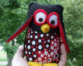 SALE Little Plush Stuffed Felt Owl Black Red White