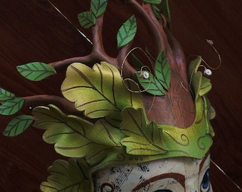 Oberon Crown, forest faerie leather leaf crown