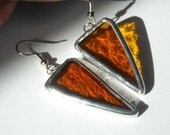 Amber Stained Glass Earrings