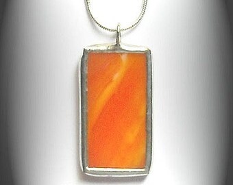 Orange Stained Glass Pendant