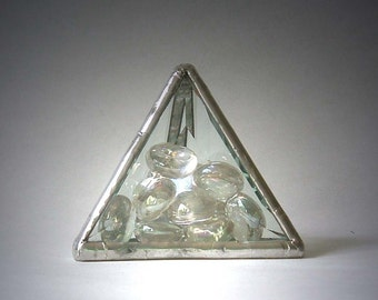 Beveled Glass Paperweight With Clear Glass Jewels