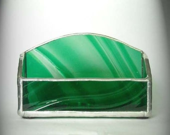 Green And Clear Stained Glass Business Card Holder