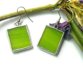 Lime Green Stained Glass Earrings