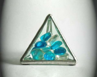 Beveled Glass Paperweight With Blue And Clear Glass Jewels