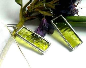 Transparent Green Stained Glass Earrings