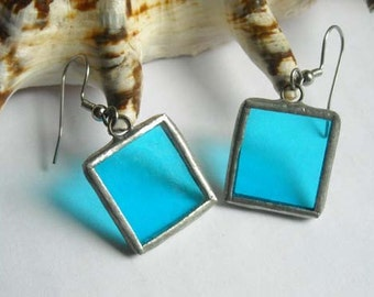 Blue Stained Glass Earrings
