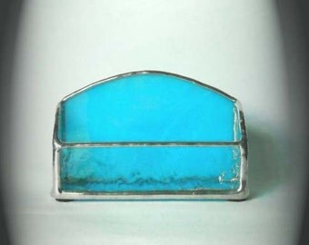 Turquoise Stained Glass Business Card Holder