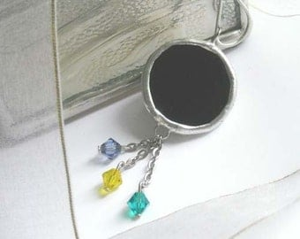 Black Stained Glass Pendant With Swarovski Crystals