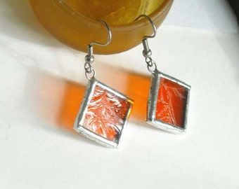 Orange Stained Glass Earrings