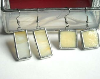 Beige Stained Glass Earrings 2 Pair