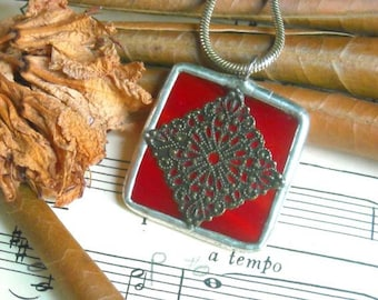 Red Stained Glass Pendant With Filigree