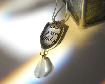 Upcycled Frosted Glass Pendant With Glass Bead
