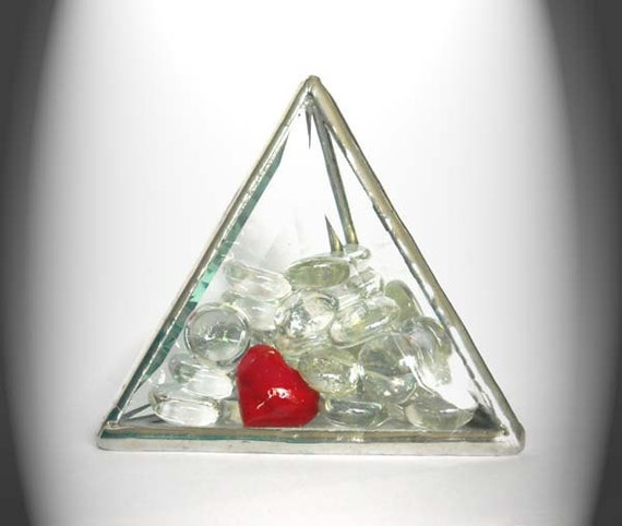 Special Valentine's Day Beveled Glass Paperweight