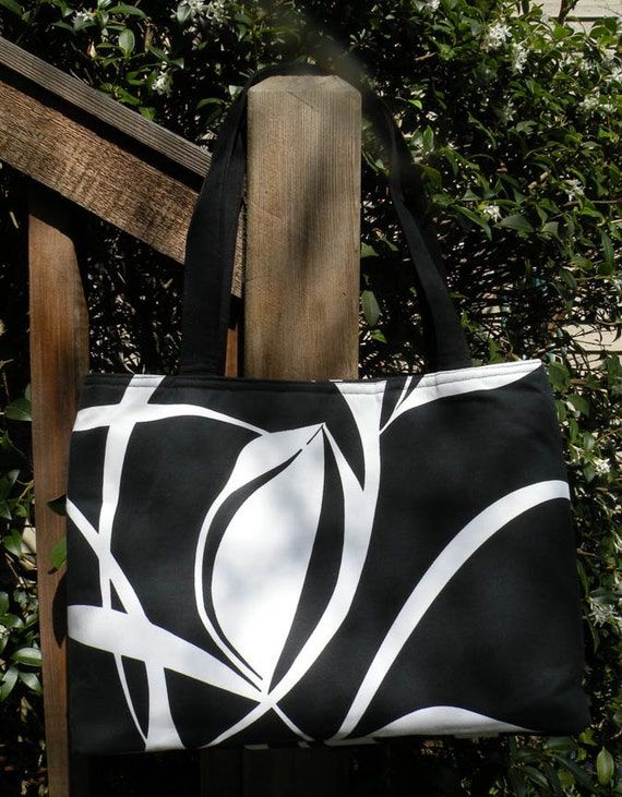 Handmade Designer Cotton Fabric Tulip Graphic Tote Handbag