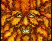 Autumn Green Man ACEO