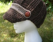 Beanie With A Brim Hat  Womens Heather Brown and Mushroom with Brown Buttons