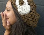 Headphones Are For Girls Slouchy Crochet Beanie  Hat