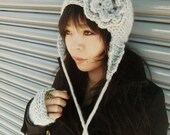 Gray beret womens slouchy hat with ear flaps - grey bonnet hat with flower - womens crochet beanie - gray yarn