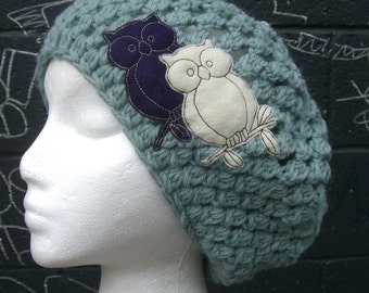 2 Owls Are Better Than 1 Mint Slouchy Hat