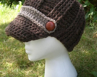 Beanie With A Brim Hat  Womens Heather Brown and Mushroom with Brown Buttons - fall hat - winter hat