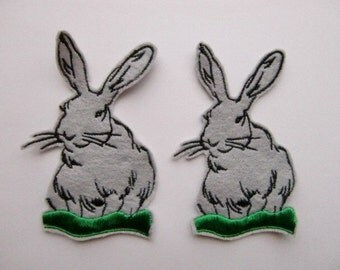 Sew on Patches Bunny Rabbits in Gray
