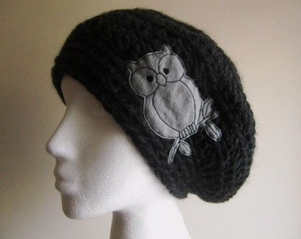 Black owl hat - charcoal yarn - women winter hat - chunky yarn - sew on owl patch - embroidery