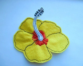 Yellow hibiscus flower iron on sew on embroidered felt patch applique - red embroidery thread