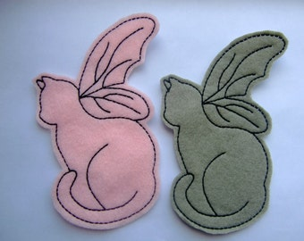 Pink and Green Moss Cat with Wings Embroidered Appliques