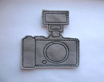 Vintage camera with flash machine embroidered iron on patch applique