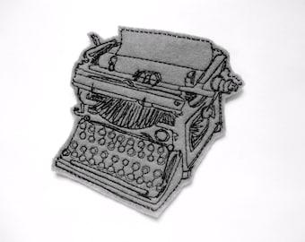 Gray Typewriter patch - iron on patch - embroidered patch - patch - patches - patches for jackets - vintage typewriter - typewriter applique