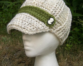 Newsboy hat - winter - cable knit - beanie with a brim - cameo buttons - cream and green hat - yarn