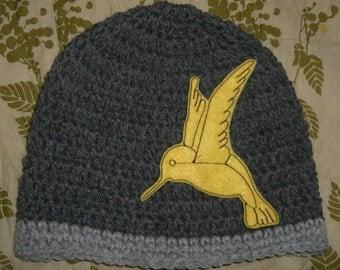 Grey Hat With Mustard Hummingbird