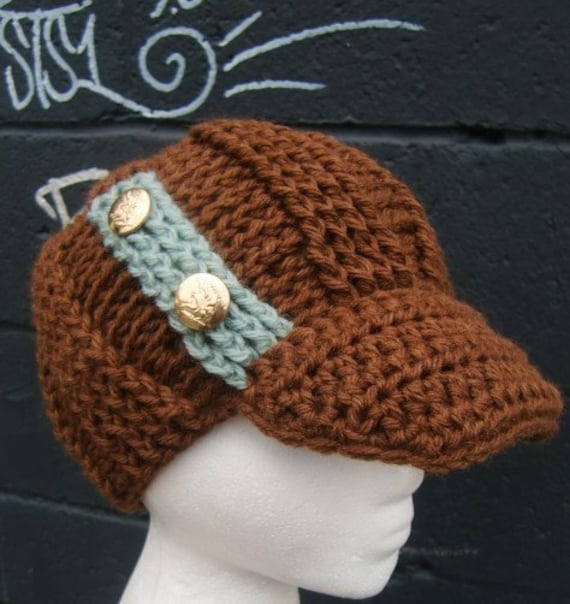 Items similar to Crochet Cocoa and Mint Military Hat ...