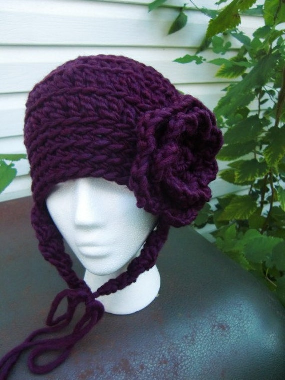 Crochet Womens Hat With Ear Flaps Pattern : Crocheted Hat Hat with Flower Hat with ear flaps by ...