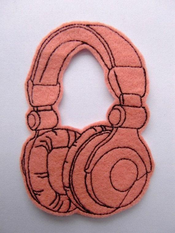 Iron On Patch Headphones Applique in Salmon Felt