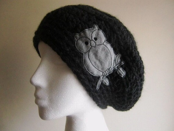 items similar to black owl hat charcoal yarn