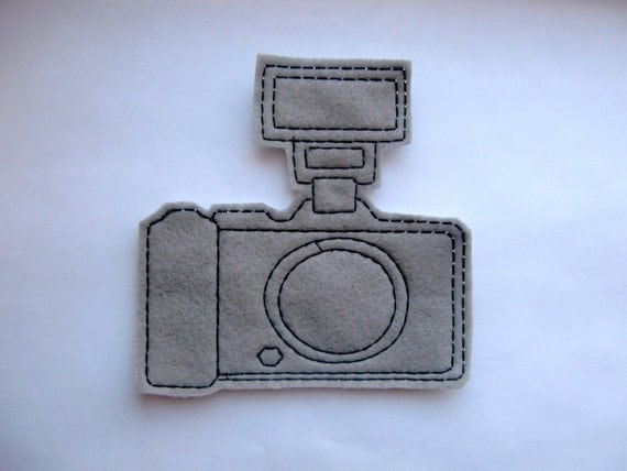 Vintage camera with flash embroidered iron on patch applique
