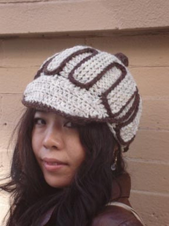 Crochet Hat in Wheat and heather brown with crochet button