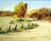 Mini Fall Autumn Deer Forest Watercolor Painting