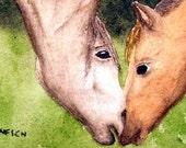 SALE--Mini Horse Horses WATERCOLOR Painting ART--Now 18.99