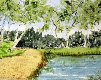 ORIGINAL PAINTING: Mini Aspen Tree Park WATERCOLOR Painting