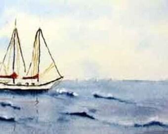 Miniature Sailboat Sea Watercolor Painting