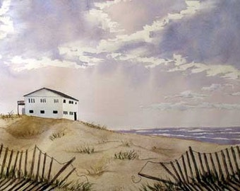 ORIGINAL PAINTING: Summer Lakehouse on Beach Watercolor Landscape Painting