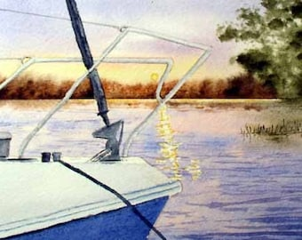 ORIGINAL PAINTING: Mini Sunset Summer Lake with Boat Watercolor Painting