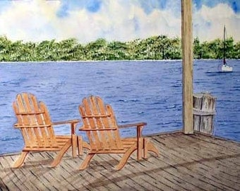 ORIGINAL PAINTING: Lake Cabin with Adirondack Chairs Watercolor Landscape Painting