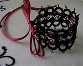 Black Tatted Cuff Bracelet With Ribbon Ties Victorian Lace