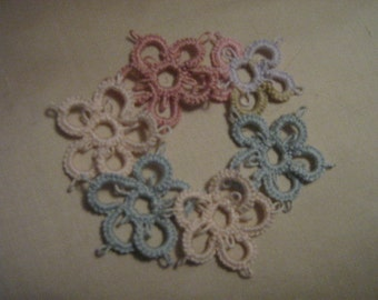Set of Six (6) Multi-Colored Tatted Flowers--your choice of colors