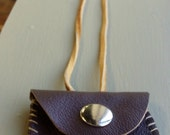 Dark Brown Mini Leather Pouch Necklace