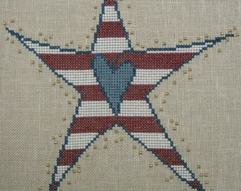 Beaded Star - Red, White and Blue Stripe