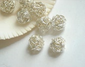 Metal Winding Silver Plated Round Beads